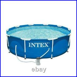 Above Ground Swimming Pool Round Metal Frame Filter Pump Intex Set Family Adult