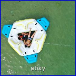 Adult 6 Seat Inflatable Tropical Island Lounging Pool Float Blue Raft Lounge New