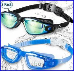 Anti UV&Fog Swim Goggles w Nose Clip& Ear Plugs for Adult Men Women Youth 2 Pack