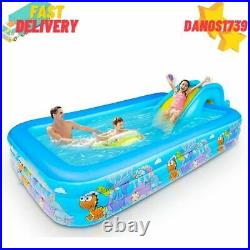 Inflatable Swimming Pool for Kids, Adults withSlide, 120x70x21 Full-Sized, Blue