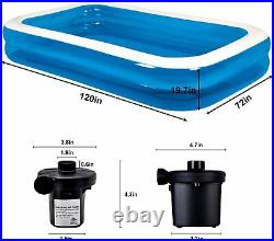 Outdoor Large 118 x 72 x 20 in Family Inflatable Swimming Pool for Adult Kids
