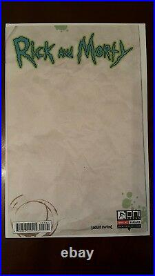 Rick and Morty #1 Blank Sketch Variant First Print Mint Condition Adult Swim